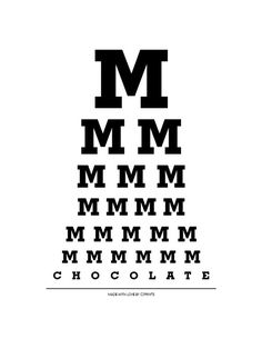 A Chocolate Chart. For instant happiness! Mmmmmmm Chocolate - Eye Chart on Etsy Chocolate Humor, Chocolate Quotes, I Love Chocolate, How To Make Chocolate, Chocolate Lovers, Cupcake Art, Cupcake Crafts, Thoughts, Funny