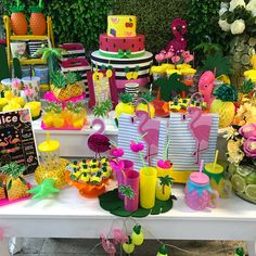 13th Birthday Parties, Luau Birthday, Hawaiian Birthday, Aloha Party, Luau Party, Flamingo Birthday, Fruit Party, Tropical Party, Party Centerpieces