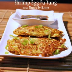 Shrimp Egg Fu Yung Fresh bite size pieces of shrimp, bean sprouts, celery, sweet peppers, green onions, water chestnuts in an egg omelet.