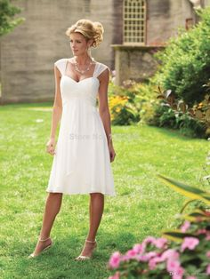 Simple 2014 Vestido de noiva Summer Beach A line Country Western Wedding dresses Elegent Empire Waist Knee-length Bridal Gowns $109.00