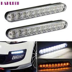 Car-styling Daytime Running Light Tiptop NEW 2PCS 2x 30 LED DRL Daylight Lamp with Turn Lights ligero drop shippping  17augu15