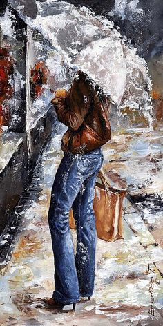 Rain Painting - Rainy Day - Woman Of New York 15 by Emerico Imre Toth Rain Painting, Painting People, Painting & Drawing, Figure Painting, Fine Art Amerika, Rain Art, Umbrella Art, Art Moderne, Watercolor Portraits