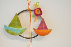 Colourful   earhtenware sailboats on a by AkatosCollectibles, $25.20