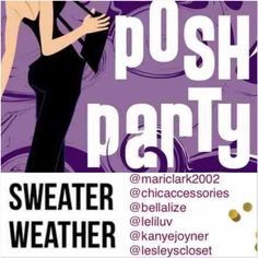 ❄️Theme update: Sweater Weather❄️ It's my pleasure to announce that I'm hosting my 5th party with my pff's @chicaccessories @lesleyscloset @leliluv @bellalize & @mariclark2002. As always I'm looking for new closets that follow all posh rules. I look forward to looking through all of your closets. Please like this listing so I can remember to look in your closet. Other