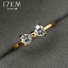 Fashion Austria Crystal Rings Gold Color Finger Bow Ring Wedding Engagement Cubic Zirconia Rings For Women Wholesale New - Nana Garden Home Decor Diamond Jewelry, Gold Jewelry, Jewelry Rings, Jewelry Accessories, Women Jewelry, Jewelry Design, Diamond Studs, Diamond Rings, Fancy Jewellery