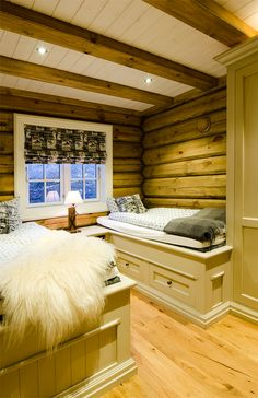Cozy bedroom in mountain cabin. Beds from Os Trekultur, with drawers under the bed that provides good storage.