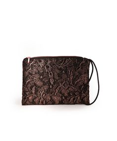 Diana is a Leavers lace clutch embellished with a copper print, essential accessory for a sophisticated metallic touch.