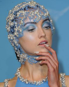 The underwater theme was just asking for Mermaid Bubbles nails.  Joy Cioci Spring 2013 Collection  #nyfw