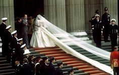 The trains of Lady Diana's veil and dress on her wedding day.  I remember waking up early to watch this.