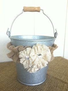 Burlap and Lace Flower Girl Basket Galvanized by blossomsnburlap, $32.00