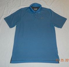 Men Under Armour Loose Heat Gear Polo/Golf Rugby Shirt Blue Striped Size L Large #UnderArmour #PoloRugby