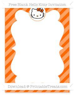 Free Safety Orange Diagonal Striped Blank Hello Kitty Invitation