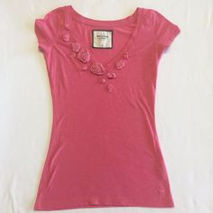 Abercrombie And Fitch Pink V Neck Short Sleeve Summer Top Size Small S  #AbercrombieFitch #Blouse #Casual