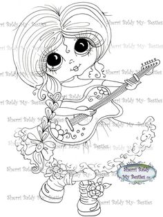 INSTANT DOWMLOAD Digital Digi Stamps Big Eye Big Head Dolls Digi Img023  My Besties By Sherri Baldy