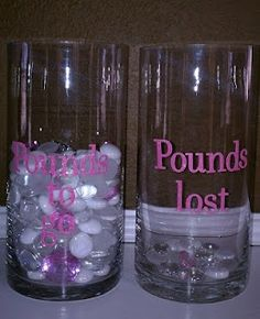 Great tangible reminder of your weight loss journey.  Have two glass jars with the number of marbles equal to the pounds you want to lose.  And transfer them over to the pounds lost jar when you shed the weight.