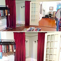 Turn an empty corner in your LuLaRoom into a dressing area so your customers have a place to try on all the awesome clothes! I did this one using just a curtain rod and some old curtains I had already. Then added a couple of wall hooks and a full length mirror, and done!