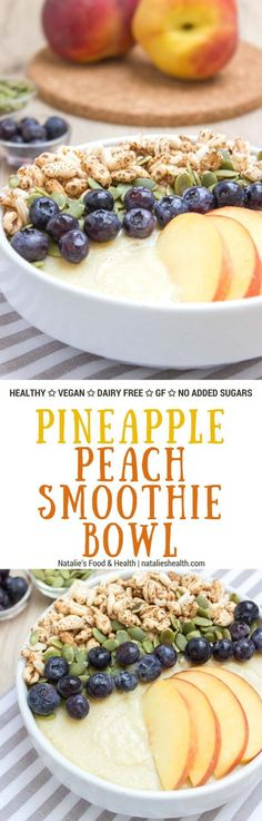 Healthy Snacks Thick, creamy and irresistible sweet Pineapple Peach Smoothie Bowl is a perfect weekend breakfast. It's packed with healthy fibers, vitamins, plant based proteins, and HEALTHY It's an easy way to turn a healthy smoothie into a whole meal. Healthy Smoothies, Smoothie Recipes, Healthy Snacks, Healthy Breakfasts, Healthy Dinners, Best Breakfast Recipes, Brunch Recipes, Breakfast Ideas, Vegan Breakfast