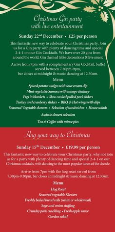 Looking for something different this year to celebrate Christmas, why not come to our Gin Night or HOG roast party night . Christmas Gin, Christmas And New Year, Hotel Specials, New Years Eve Party, Restaurants, Roast, Parties, Night, Fiestas