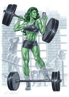 She-Hulk powerlifting