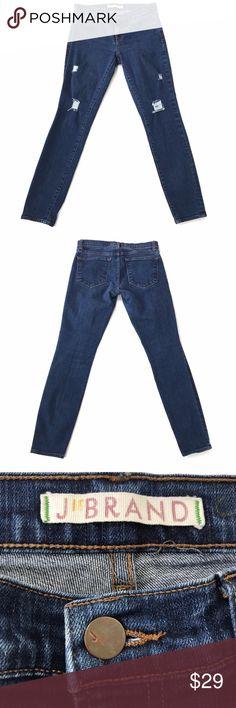 "J Brand Skinny Jeans Distressed Stretch Size 28 J Brand Distressed Skinny Jeans Stretch Fit Size 28 Inseam: 28"" Rise: 9.5""  Waist measured flat: 15 J Brand Jeans Skinny"