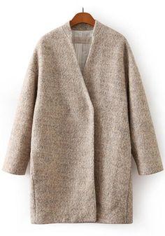 Khaki Plain Long Sleeve Wool Coat