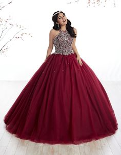 Beaded Halter Dress by House of Wu Fiesta Gowns Style 56316 – Quinceanera 2020 Xv Dresses, Pageant Dresses, Ball Dresses, Ball Gowns, Quinceanera Dresses Maroon, Quinceanera Party, Quince Dresses Burgundy, Long Halter Dress, Sweet 16 Dresses