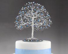 Fall Tree Wedding Cake Topper 7 x 7 with Genuine by byapryl