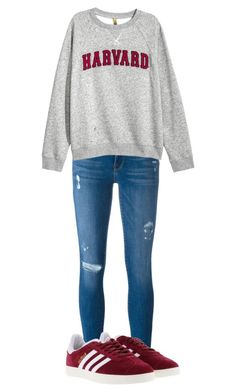 """""""Untitled #44"""" by haileyclark-1 ❤ liked on Polyvore featuring Frame Denim, H&M and adidas"""