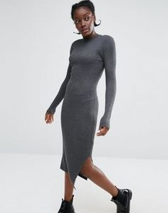 Monki High Neck Knitted Rib Dress