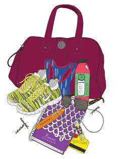 What's in My Bag Illustration (Fitness Style), by Kristina Hultkrantz of Emma Kisstina