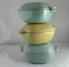 3 Vintage MCM Glidden Pottery Covered Casserole by jujubeezcloset, $40.00