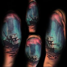 sailing-ship-northern-lights-half-sleeve-tattoos-for-men.jpg (600×600)