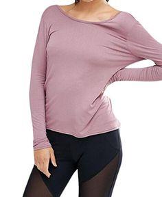 92448e09 LD Womens Sexy Long Sleeve Backless Loose Tshirt Tops Blouse Purple M --  BEST VALUE BUY on Amazon #KoreanFashion
