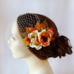 fall wedding hair clip, autumn leaves, bridal hair accessory - HARVEST - pumpkin orange, rust, rustic wedding