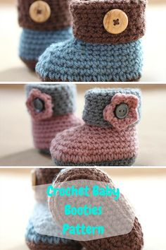 the solution is simple these DIY Crochet Cuffed Baby Booties, dignified with accent wooden buttons! This style of crochet baby shoes is a little different due Crochet Baby Shoes, Crochet Baby Booties, Crochet Baby Bootie Pattern, Crochet Baby Blanket Beginner, Baby Knitting, Crochet Bebe, Cute Crochet, Crochet Hats, Baby Patterns