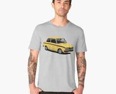 This rare Dutch made Volvo 66 was based DAF 66 car. This car is known about continuously variable transmission, the Variomatic. Now you can get classic car printed on T-shirts. You can choose saloon or combi models of it. Retro Cars, Vintage Cars, Car Illustration, Illustrations, Front Grill, Yellow Black, Volvo, Classic Cars, Prints