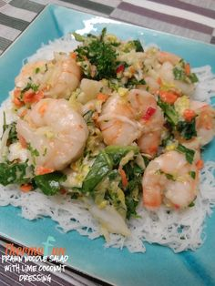 Prawn Noodle Salad with Lime Coconut Dressing (ThermoFun Decadent Food, Grilled Tomatoes, Noodle Salad, Good Foods For Diabetics, Easter Dinner, Evening Meals, Prawn, Eating Plans, Main Meals
