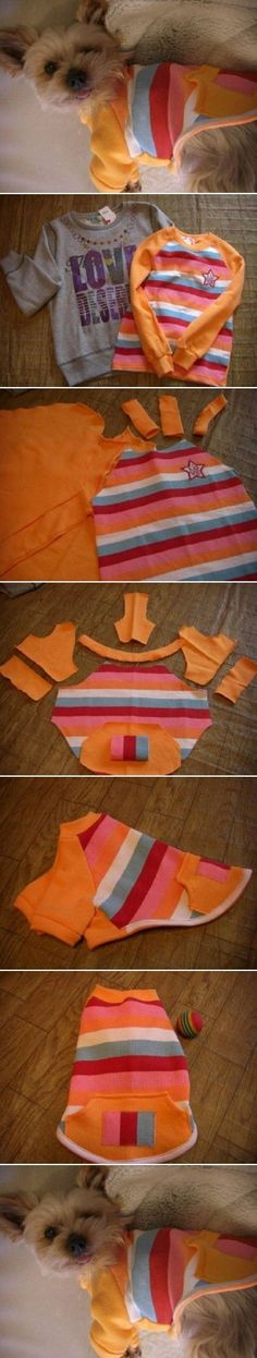 How to make Sweater Dog Clothes step by step DIY tutorial instructions / How To Instructions