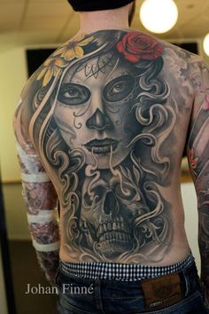 full skull candy tattoo on back