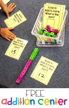 Susan Jones Teaching: More Math Stations and an Addition Freebie! Free addition activity for kindergarten or first grade! Students must build the first number and then add on the second number to show their addition. Such a great hands on addition center! Second Grade Math, First Grade Classroom, Math Classroom, Grade 1, Second Grade Centers, First Grade Addition, Classroom Decor, 2nd Grade Math Games, Lego Math
