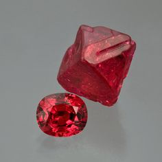 Crystal and Jewel: Burmese faceted-red spinel; 2.24-carat, 8.3 x 7 x 5.1 mm,, with a 15-carat Burmese spinel-crystal, 17 x 12 x 10.5 mm