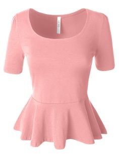 Womens Fitted Scoop Neck Short Sleeve Peplum Top with Stretch