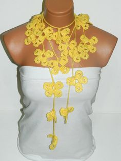 Hand made crochet yellow Flower Lariat Scarf by WomanStyleStore, $25.00