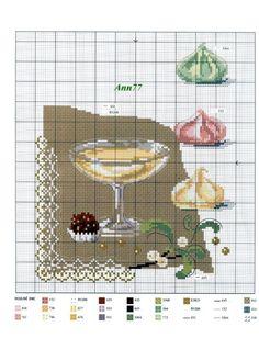 0 point de croix grille et couleurs de fils  dessert et meringues
