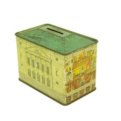 Doll House Model Tin Box Bank by Modern Commissary Penny Bank, Geek Toys, Tin House, Tin Containers, Vintage Typography, Money Box, Vintage Tins, Old Toys, Toy Boxes