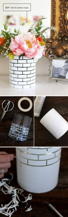 DIY White Brick Vase: A creative and easy way to add some new life into your clear vases! This white brick vase will surely be a great addition to your room!