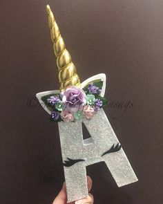 Only Unicorn Letter Just Unicorns with padded horn/floral