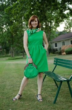 Week 1, Dress1: A Green #JCrew Dress with #BananaRepublic scarf and bracelet, #Vintage bag.