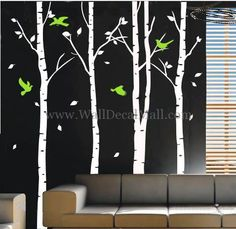 Birds Play in the Birch Forest Wall Decals