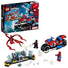 Roll over image to zoom in LEGO Marvel Spider-Man: Spider-Man Bike Rescue 76113 Building Kit Piece). Build the Spider-Man bike, featuring a tech spider shooter and (non-shooting) web gun, and stop Carnage blowing up the power generator Includes 3 sup Lego Spiderman, Spiderman Spider, Amazing Spiderman, Lego Juniors, Building Toys For Kids, Lego Building, Building Ideas, Lego Disney, Lego Duplo
